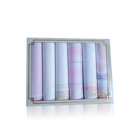 L36-3 Női textilzsebkendő 6db díszdobozban