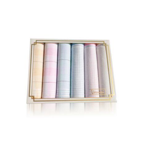 L36-4 Női textilzsebkendő 6db díszdobozban