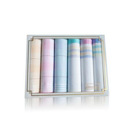 L36-5 Női textilzsebkendő 6db díszdobozban