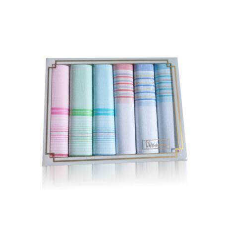 L36-6 Női textilzsebkendő 6db díszdobozban