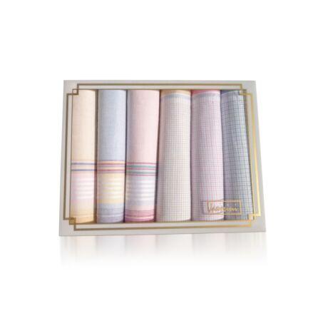 L36-7 Női textilzsebkendő 6db díszdobozban
