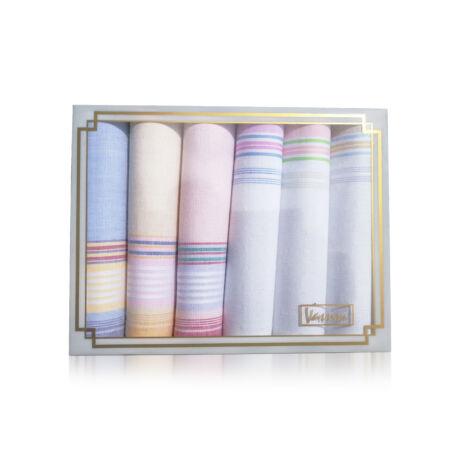 L36-9 Női textilzsebkendő 6db díszdobozban
