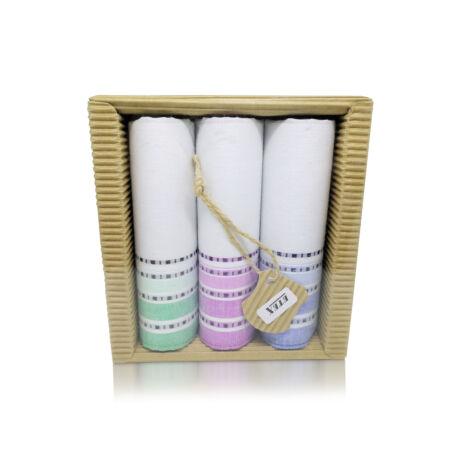 L47-2  Női textilzsebkendő 3 db, hullámkarton csomagolásban (ÖKO)