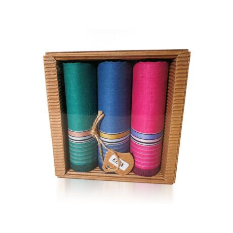 L47-4  Női textilzsebkendő 3 db, hullámkarton csomagolásban (ÖKO)