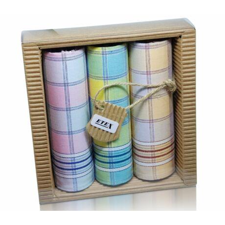 L47-5  Női textilzsebkendő 3 db, hullámkarton csomagolásban (ÖKO)