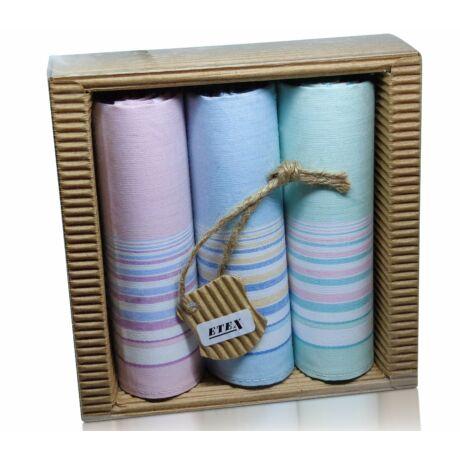 L47-6  Női textilzsebkendő 3 db, hullámkarton csomagolásban (ÖKO)