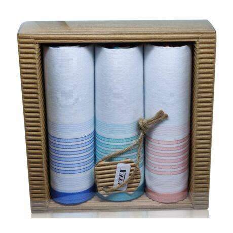 L47-8  Női textilzsebkendő 3 db, hullámkarton csomagolásban (ÖKO)