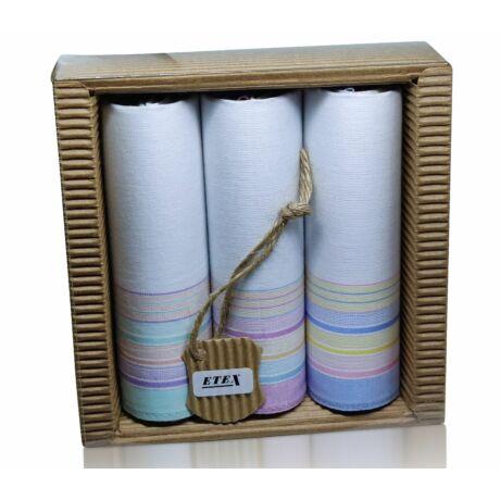 L47-9  Női textilzsebkendő 3 db, hullámkarton csomagolásban (ÖKO)