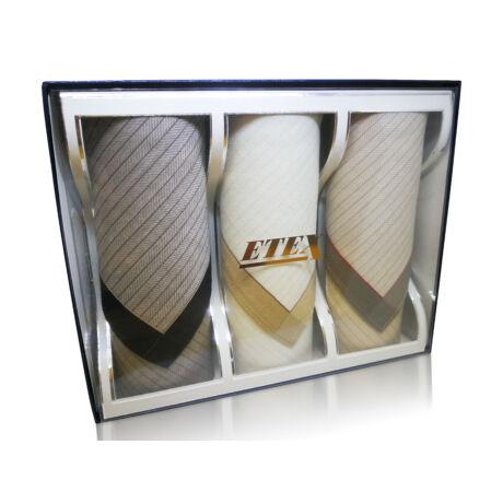 L55-10  Női textilzsebkendő 3db, díszdobozban