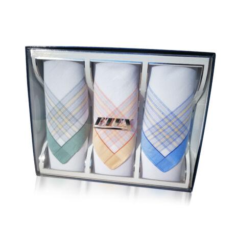 L55-6  Női textilzsebkendő 3db, díszdobozban