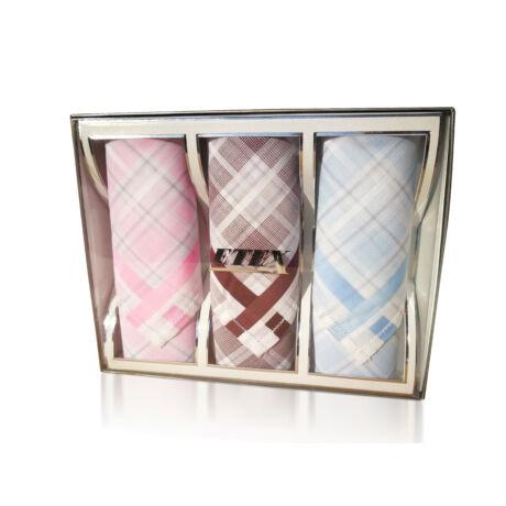 L55-7  Női textilzsebkendő 3db, díszdobozban