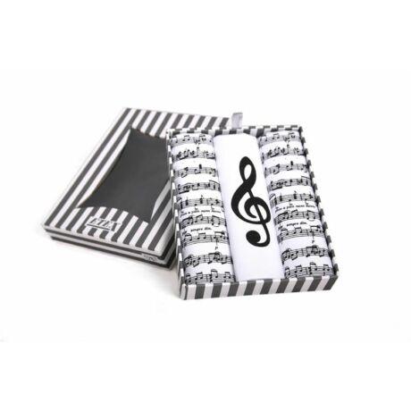 L59 Női textilzsebkendő 3db, díszdobozban kotta minta