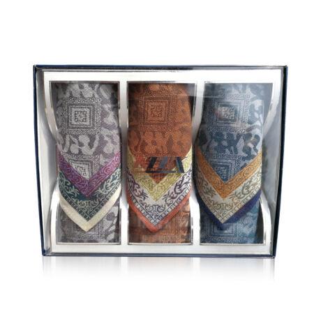 M05-2 Ffi textilzsebkendő 3db díszdobozban Jacquard