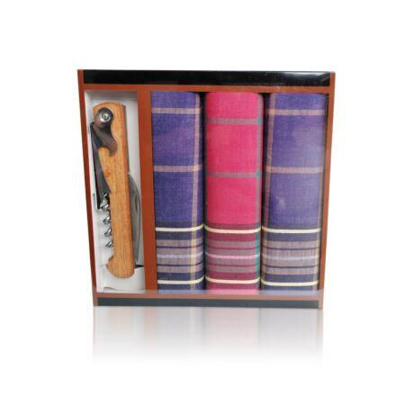 M24-1 Ffi textilzsebkendő 3db ajándék dugóhúzóval