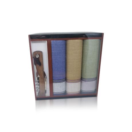 M24-10 Ffi textilzsebkendő 3db ajándék dugóhúzóval