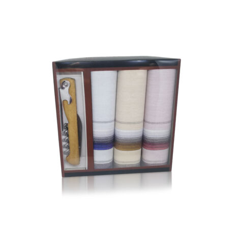 M24-12 Ffi textilzsebkendő 3db ajándék dugóhúzóval