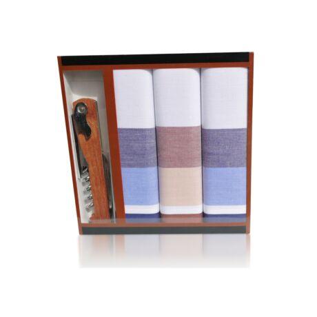 M24-3 Ffi textilzsebkendő 3db ajándék dugóhúzóval