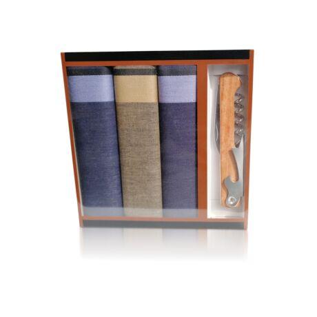 M24-4 Ffi textilzsebkendő 3db ajándék dugóhúzóval