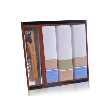 M24-7 Ffi textilzsebkendő 3db ajándék dugóhúzóval