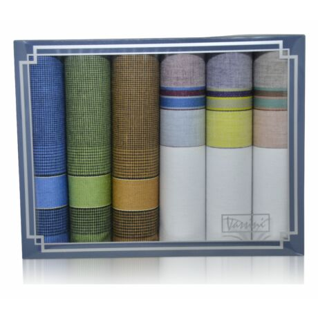 M37-52 férfi textilzsebkendő csomag (6db) - fiatalos
