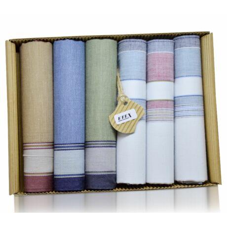 M50-7 Férfi textilzsebkendő 6db hullámkarton dobozban