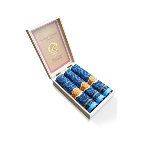 M57-4 Ffi textilzsebkendő 3db fadoboz (szivar, jacquard)