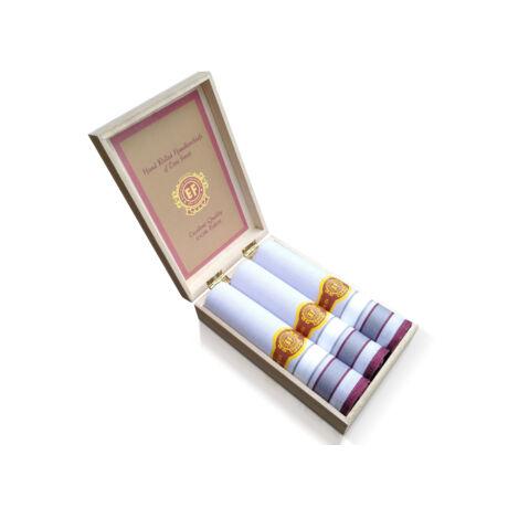 M58-4 Ffi textilzsebkendő 3db fadoboz (szivar)